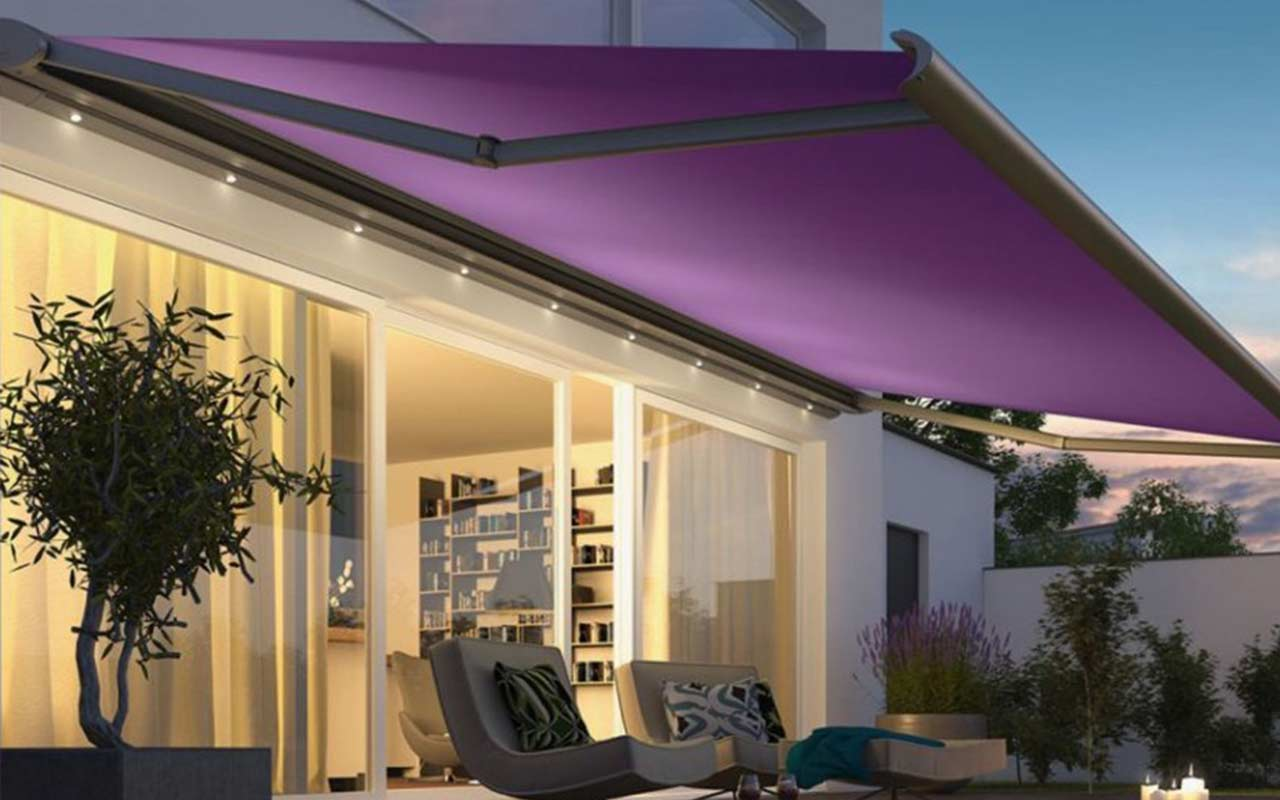 Outdoor Awning installed in a courtyard by Basha's Floors & Blinds