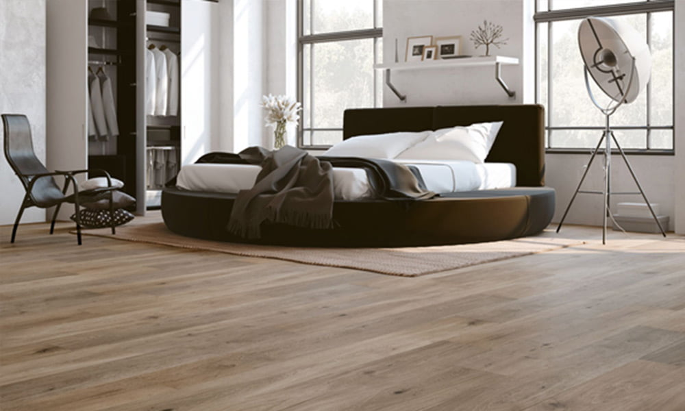 Engineered timber flooring installed in a modern bedroom